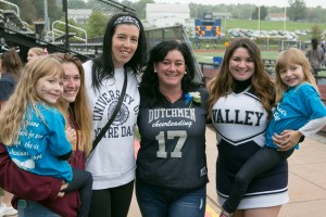 Family members join Lebanon Valley College cheerleading during Homecoming weekend