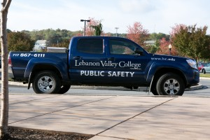 Public Safety patrols the Lebanon Valley campus in their truck