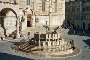 LVC students visited the fountain in Perugia, Italy as part of their study abroad program