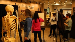 Lebanon Valley College art students work on drawing skills