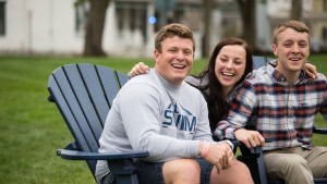 Students spend time together in the quad