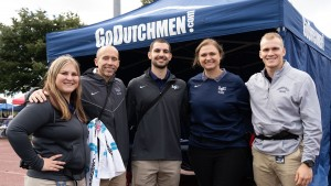 Lebanon Valley College athletic training students and faculty work the football game.