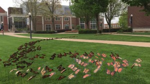 This butterfly art installation highlighted the College's Earth Day celebration.
