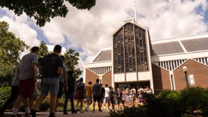 Students entering Frederic K. Miller Chapel at Lebanon Valley College