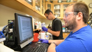 Biochemistry and molecular biology students work in the research lab at Lebanon Valley College