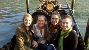 LVC students take a Gondola ride while studying abroad in Spain
