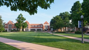 The Vernon & Doris Bishop Library is located in LVC's academic quad