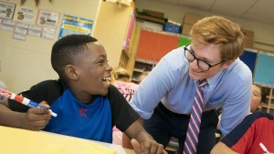 Lebanon Valley College education major completes his student teaching with fourth graders