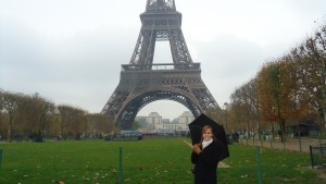 Students visit the Eiffel Tower while studying abroad