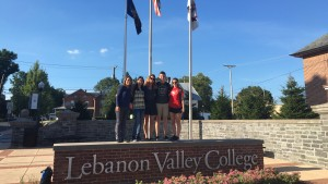 International Students pose at the entrance to Lebanon Valley College