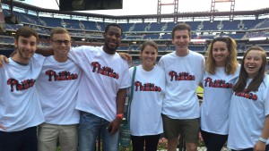 International Students attend a professional baseball game in Philadelphia, PA