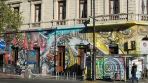 Street art lines the downtown streets in Buenos Aires, Argentina