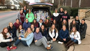 Gamma Sigma Sigma and women's lacrosse packed more than 300 boxes for Operation Christmas Child