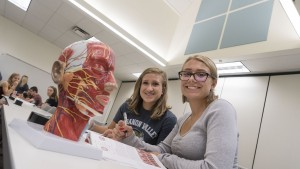 Speech-language pathology students study in the new Arnold Health Professions Pavilion.