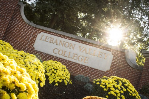 The welcome sign at Lebanon Valley College