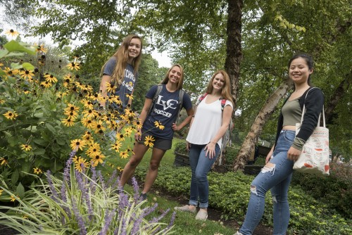 Lebanon Valley College students enjoy the beautiful Peace Garden on campus