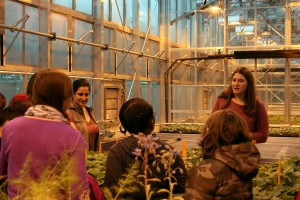 Lebanon Valley College alumnus Elizabeth Cieniewicz works with students in the greenhouse at Cornell University