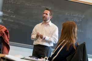 German professor Joerg Meindl speaks to a class