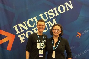 Psychology student Erin Kingham poses with Chris Mosier at the NCAA Inclusion Forum.