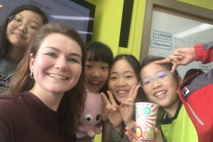 Jessica Oliveri poses with her students in South Korea
