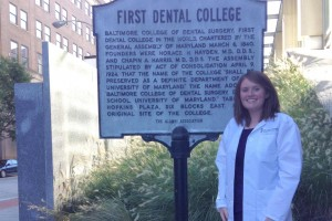 Katie Wray poses at the University of Maryland's dental school where she is in the graduate program.