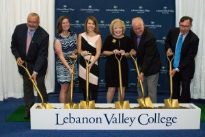 Members of the LVC community break ground for the Arnold Health Professions Pavilion