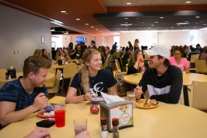 Students enjoy a meal in the dining hall at Lebanon Valley College