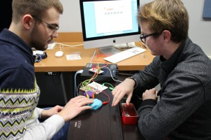 Music Students use a Makey Makey kit to produce music