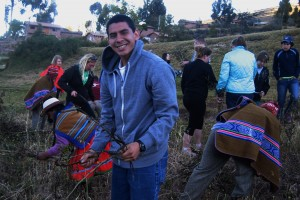 Michael Butcher works during a service trip to Peru