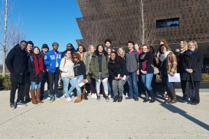 Lebanon Valley College students pose outside of the National Museum of African American History and Culture