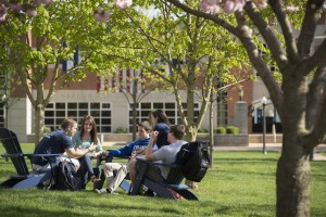 Students study on the beautiful academic quad at Lebanon Valley College