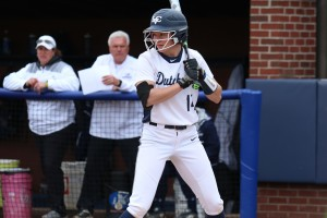 Sammy Bost stands at the plate during an LVC softball game