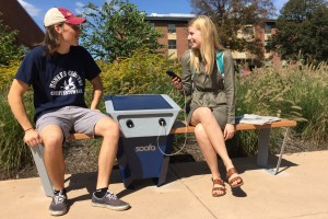 Alex Bushong and Laura Brent talk on the new Soofa solar powered bench at Lebanon Valley College