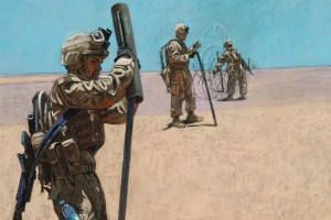 Artist Michael Fay created this image of war, part of the Suzanne H. Arnold Gallery's Witness to War exhibit