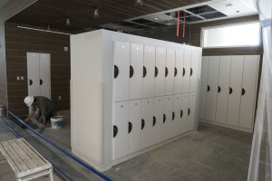 Student lockers are constructed near the entrance of Arnold Health Professions