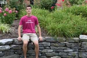 Jordan Rohrer relaxes in the peace garden at LVC