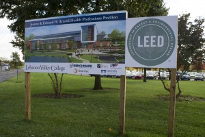 A sign stands in front of the new Health Professions facility stating the LEED status