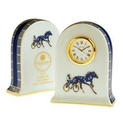 Haviland Clock Sulky Collection This wonderful homage to the grand sport of harness racing is the result of the inaugural collaboration between the owner of L.V. Harkness & Co. and the fabulous French team of designers from Haviland Limoges. What began as the first custom made porcelain trophy for the Kentucky Futurity, the third leg in the Triple Crown of harness racing, developed into the elegant dinnerware pattern,