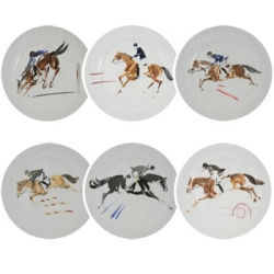 Equestrian Dinner Plates, Set of Six