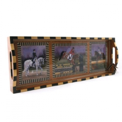 Annie Modica Eventing Tray This wonderful handmade decoupage bar tray is an exclusive design for L.V. Harkness.  Annie Modica is a self-taught decoupage genius from California who was thrilled to work with us on this beautiful homage to the thrilling sport of three day eventing.