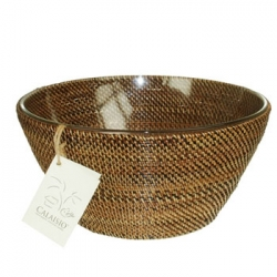 Rattan Salad Bowl with Insert