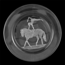 Small Plate/ Wine Coaster Engraved with Vaulting Image