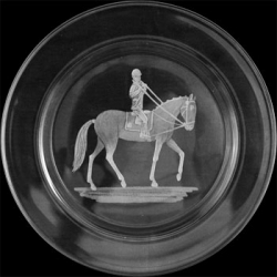 Small Plate/Wine Coaster Engraved with Para Equestrian Rider Image