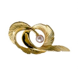 Feather Curl Pin with Pearl