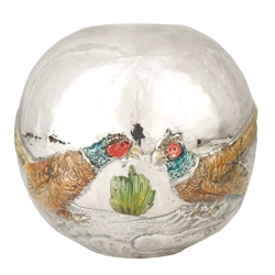 Sterling Silver and Enameled Round Vase with Pheasants