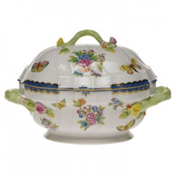 Queen Victoria Blue Tureen with Branch Handles