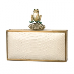 Minaudiere with Frog on Top Glazed Python  :  python minaudiere white frog