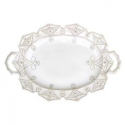 Jardins du Monde Whitewash Large Handled Turkey Platter
