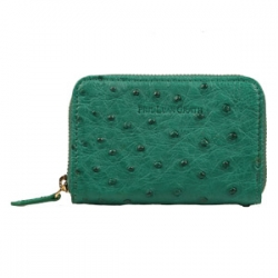 Green Ostrich Skin Card Case