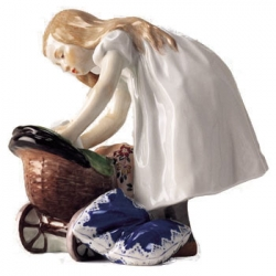 Girl Leaning over Doll Carriage